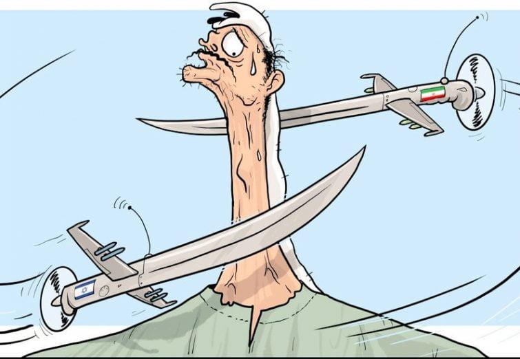 کاریکاتور زیبای العربی الجدید از نبرد پهپادهای ایرانی و اسرائیلی در کشورهای عربی
