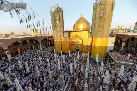 اقامه نماز عید قربان در جوار حرم حضرت امیرالمومنین (ع)+ تصاویر