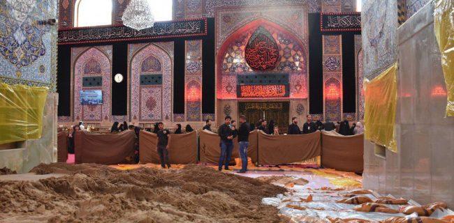 آماده سازی حرم امام حسین(ع) برای مراسم ویژه «هروله کنان» + عکس